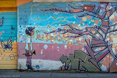 Boy vs. Bionic Beast (Maureen Medina) Tags: maureenmedina artizenimages flagstaff arizona az streetart street art mural graffiti boy futuristic beast