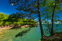 Lake Superior Blues and Greens (susannevonschroeder) Tags: lakesuperior wisconsin beach blue sky summer trees madelineisland apostleislands