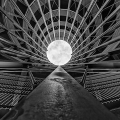 Launching Pad (Leipzig_trifft_Wien) Tags: wien österreich at structure architecture building steel circle round lines vanish vanishing pov perspective monochrome blackandwhite bnw