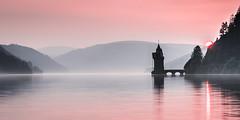 Llyn Vyrnwy Sunset! (Nathan J Hammonds) Tags: llyn brianne wales reservoir water uk sunset pink hills dam mist landscape sun evening summer calm
