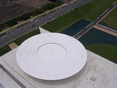 Chamber of Deputies from above, Brasilia (Stephen.Bingham) Tags: brasil brasilia brazilianparliament chemberofdeputies congressonacional oscarniemeyer ccbysa creativecommons attributionsharealike