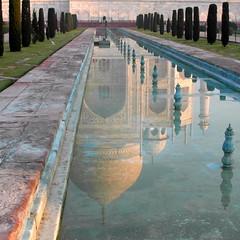 taj mahal reflected (2) (kexi) Tags: agra india asia uttarpradesh tajmahal square reflection water magic monument famous mughal love ancient old perspective white blue samsung wb690 february 2017