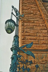 Cleveland Ohio -  Society for Savings Building - Old Gas Lamp (Onasill ~ Bill Badzo) Tags: trinity church cuyahogacounty exterior building society savings bank high rose architecture romanesque public square historic landmark nrhp onasill downtown cleveland ph phio 1893 100 years old guardian murals interiors piggy banks vintage photo architect burnham root chicago michigan mi road sky skyscraper tree window car city gas lamp side oldest clock wood stonework