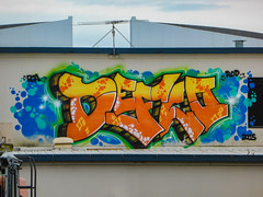 DEFLO 2015 (Steve Taylor (Photography)) Tags: deflo fga rod aerial graffiti mural streetart tag roof blue green orange yellow newzealand nz southisland canterbury christchurch city cbd