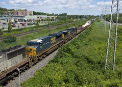 CSX GE's trailing (Michael Berry Railfan) Tags: cn canadiannational cn327 train freighttrain csx csxt pointeclaire montreal quebec kingstonsub csxt5323 csxt45 ac4400cw gevo es40dc