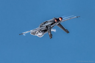 Swiss Hornet with whisks of vapour as it manoeuvres