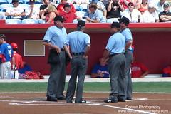Umpire Meeting (Donten Photography) Tags: florida sarasotaflorida edsmithstadium majorleaguebaseball mlbspringtraining grapefruitleague nationalleague