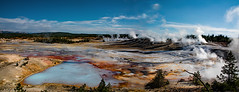Hot Springs Panorama (Rennett Stowe) Tags: startrek starwars sciencefiction endoftheworld lastdays endoftime panoramanorrisgeyserbasin panoramaofyellowstone panoramaview wideanglelens wideanglephotography pbis china japan cyancolor cyanlake aqualake sapphirelake jurassicpark primordialdream beforehumanbeings earlyearth earth dinosaur beforehumans terminate tactile sensuality sensual wives wife americantour tourist tour vacation nationalpark yellowstonewallpaper wallpaper yellowstonefreepics yellowstonecaldera caldera tragedy canonmarkiv canoneos5dmarkiv canon geyser hotsprings joy primordial bluelake bluehotsprings norrisgeyserbasin thermal thermalvalley thermalpower cleanenergy yellowstonenationalpark wyoming yellowstone yellowstonegeyser geysers thermalaction panorama geyserpanorama danger dangerous clouds steam blueandred bluesky ngc milky milkywater july2018 july172018