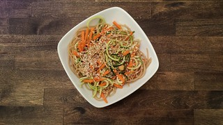 Recipes from Sweet Peas and Saffron. Sooo delicious!!https://sweetpeasandsaffron.com/cold-sesame-noodle-meal-prep-bowls-vegan/Note: modifications made. I used a bottled peanut sauce vinaigrette, from Trader Joe's.