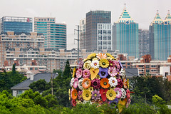a bouquet of flowers (Rasande Tyskar) Tags: china shanghai street buildings scrapers city scape hochhäuser wolkenkratzer concrete beton blumen flowers plastic blocks high rise residential