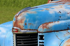 Truck Nose (Read2me) Tags: vermont pree cye truck transportation blue rust old antique pastitsprime broken thechallengefactorywinner ge agcgwinner