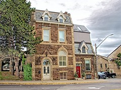 Fergus  Ontario -  Canada - Dr. Abraham Groves Building _ Historic (Onasill ~ Bill Badzo - 54M View - Thank You) Tags: 120 st david street south 130 pubs fergus ontario n1m2l3 canada limestone architecture style grand river 1880 historic nrhp onasill wentsortcounty rebel eos sl1 canoon sigma macro 182590mm dr abraham groves house mansion stone sky clouds grandriver restaurants grovehousebuilding heritage