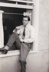 Gerald Horner outside his study Stowe School Buckinghamshire 1956 (Bury Gardener) Tags: bw blackandwhite oldies old snaps scans england uk britain stowe buckinghamshire 1950s 1956