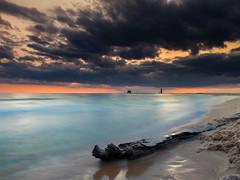 Aquamarine and Fire (MacDonald_Photo) Tags: jamieamacdonald sl33stak zd lightroom oly olympus zuiko eatonrapids michigan getolympus omd omdem1mkii μ43photography μ43 em1mkii omdem1markii highresmode 80mp 12100mm 12100mmf4 mzuiko12100mmf4pro grandhaven beach driftwood lakemichigan sunset orange clouds westmichigan nisi nisifilters nisi6stopnd nisireversegraduatednd