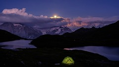 A night at moonlight by the lake (Funkraft) Tags: moon bachalpsee tent zelt mountain alps switzerland lake bergsee grindelwald first schreckhorn