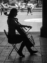 Bethesda Brahms (John St John Photography) Tags: centralpark bethesdaarcade bethesdafountain newyorkcity newyork streetphotography candidphotography woman youngwoman cellist musician brahms cello solo silhouette bw blackandwhite blackwhite blackwhitephotos johnstjohnphotography