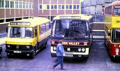 Slide 120-08 (Steve Guess) Tags: reading berkshire england gb uk bus beeline alder valley north mercedes benz minibus 609d leyland leopard willowbrook c706jmb ggm99w