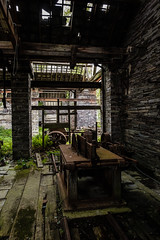 Carpentry Shop, Pen yr Orsedd (Rogpow) Tags: nantlle penyrorseddquarry slatequarry wales yfron workshop carpentryshop fujifilm fuji fujixpro2 snowdonia northwales slate abandoned derelict decay disused dilapidated ruin industrialhistory industrialarchaeology industrial industry classicchrome machinery machine sawtables