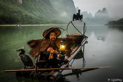 Cormorant Fisherman @Yangshuo (ujjal dey) Tags: ujjal ujjaldey guilin yangshuo china travel traveler fishermen cormorant landscape mountain river reflection dailylife evening fall dusk krast fujifilm xe2s