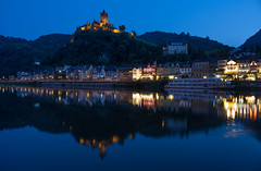 Moselle Blue (music_man800) Tags: cochem de germany deutschland mosel moselle river valley rhine beautiful water pretty scenic scenery view urban town tourism tourist road trip roadtrip holiday moselrose aoartment apartment reichsburg castle blue hour dusk evening night afternoon twilight 10pm june 2018 midsummer lights lighting still reflection reflections mirror boat long exposure tripod canon 700d skychair sky chair banks park adobe lightroom creative cloud edit photography artistic outdoors outside walk hike hills silhouette hazy calm bucket list