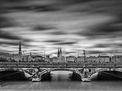 View from a bridge (T.Seifer : ) Back in September) Tags: architecture bridge fx blackandwhite blackwhite travel outdoors cityscape clouds longexposure monochrome outside whiteandblack whiteblack cloudscape hamburg haida ndfilter skyline