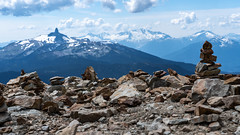 Rock Balancing (Sworldguy) Tags: mountains whistler rocks balancing zen stones summit summer discipline art view clouds cairn landscape wideangle sonya73 bc canada britishcolumbia fitzsimmonsrange