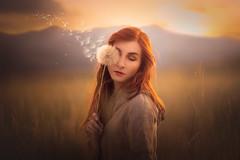 Blown Away ({jessica drossin}) Tags: jessicadrossin woman dandelion mountains sky portrait wwwjessicadrossincom