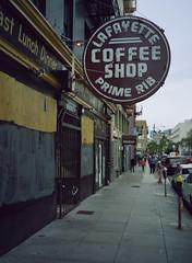 Tenderloin (bior) Tags: sanfrancisco fujifilmga645zi mediumformat 120 6x45cm 645 cinestill50d cinestill street sidewalk tenderloin coffeeshop lafayette primerib sign