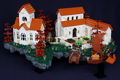 Olureon Monastery (-soccerkid6) Tags: lego monastery isles aura innovalug brickworld 2018 display island floating rock landscape autumn fall church bell courtyard dormitory gallery roof terracotta moc creation model design snot air ship dock tree