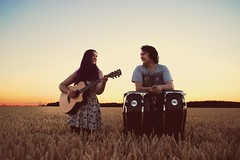 Dusky Sunday (SamThurlow) Tags: dusk dusky sunday field corn sunset orange blue pink purple sky skyscape landscape music musicians congas bongos guitar portrait