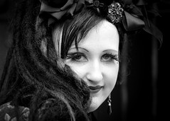 Portrait from the Whitby Steampunk Weekend IV - Days Like These (Gordon.A) Tags: yorkshire whitby steampunk whitbysteampunkweekend iv dayslikethese wsw july 2018 convivial goth gothic whitbygoths creative costume culture lifestyle style fashion lady woman people street festival event eventphotography outdoor outdoors outside amateur streetphotography pose posed portrait streetportrait blackandwhite bnw bw mono monochrome monochromatic naturallight naturallightportrait digital canon eos 750d sigma sigma50100mmf18dc
