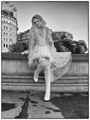 Maria Chan in Trafalgar Square, London. (Brad J Gerrard) Tags: girl woman cosplay trafalgar square london england games computer anime maria chan blonde stockings white dress lady smile hair sony rx100 ii mono bw gray grey bride