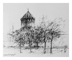 Harichavank Monastery...Armenia (Gasheh) Tags: art painting drawing sketch church monastery architecture pen gasheh 1999