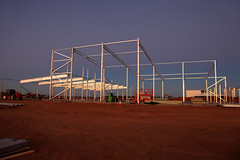 Building for the Future (Darren Schiller) Tags: dubbo royalflyingdoctorservice architecture building construction steel beams twilight newsouthwales aviation australia