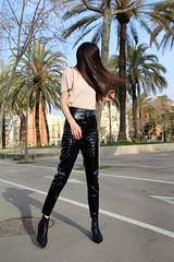 Paz Halabi Rodriguez in vinyl pants (Vinyl Beauties) Tags: paz halabi rodriguez vinyl pvc plastic pants hm fashion trend beauty sexy glamour mode lack plastik lackhose schönheit