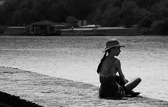 Thinking About... (Marija Mimica) Tags: black belgradeblackwhite blackwhitephotos moments monochrome river water people portrait