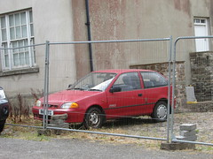 Little Red Subaru. (Andrew 2.8i) Tags: car cars classic classics carspotting street spot spotting suzuki swift japanese hatch hatchback awd 4wd gx justy subaru