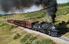 Crossing Highway 17 (jterry618) Tags: steamlocomotive cumbrestoltecscenicrailroad chama new mexico narrow gauge cts487 k36