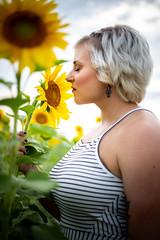 Smell (joshhansenmillenium) Tags: canon6d canon 6d photography 50mm bokeh modeling portrait sunset sunflowers cottell park cottellpark august summer sunsets clouds landscape film edit ohio bw black white