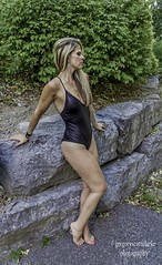 Rosie - one piece on the rocks. (gregoryscottclarke photography) Tags: rosanneneddo museumofcanadianhistory pink black blue boat stone stairs pathway summer hat