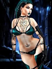 Land Of Confusion (marduklust resident) Tags: avatar sl secondlife cyber cybergoth cyberpunk ebm ay marduklust dae fangs disturbed gloves armlegs bikini swallow codex juna insomnia