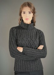 Women in charcoal wool (Mytwist) Tags: fisherman criss cross crisscross polo charcoal blarney wollen mills knitwear outfit sweatergirl turtleneck tneck tn rollneck rollkragen design style exclusive fashion thick itchie vintage vouge grobstrick handgestrickt knit retro cozy bulky modern passion love laine pure wool casual knitting fuzzy craft fetish thich pullover