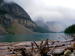 Lake Moraine (Rackelh) Tags: landscape wood mountains fog water lake nature travel park alberta canada
