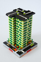 Spring Heights - Front (cazphoto.co.uk) Tags: lego moc myowncreation micropolis 14block springheights flats apartments apr18 fourseasonscourt spring