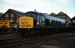 Class 46 no. 46043 @ Swindon, 06/12/1980 [slide 8067] (graeme9022) Tags: 1coco1 british rail railways br type 4 diesel electric locomotive brush sulzer engine transmission uk train works deport storage out service use blue corporate plain standard livery 1980s peak