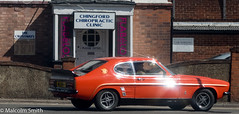 Ford Capri In Spine Tingling Condition (M C Smith) Tags: ford capri pentax k3 wall door white brick building signs purple orange black yellow gold letters numbers flare tiles silver