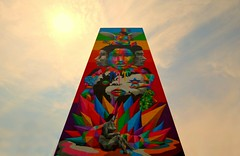 World Renowned Spanish Street Artist .... Okuda San Miguel .... Ignites Toronto With Giant Twenty-Three Storey Mural Celebrating Diversity, Knowledge and Nature (Greg's Southern Ontario (catching Up Slowly)) Tags: unity diversity innovation vibrantcolor vibrantcolour okudasanmiguel parksidestudentresidencebuilding torontoist tallmural popsurrealism 23storeywallmural spanishartistokudasanmiguel equilibriummural lookingup