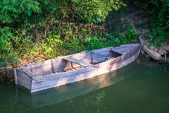Along the river of beautiful blooming flowers and fancy boats there lies this old run down wooden beauty.