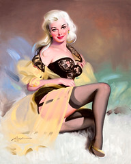 Platinum Blonde in Black Lingerie, 1999 by Donald Rust (gameraboy) Tags: donaldrust pinup pinupart illustration art vintage woman sexy platinumblondeinblacklingerie 1999 1990s lingerie stockings thighhighs garterbelt heels boobs