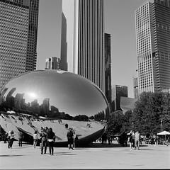 Cloud Gate (doistrakh) Tags: chicago illinois cloudgate millenniumpark usa unitedstates travel america tlr twinlensreflex rolleiflex rolleiflex35e mediumformat vintageanalogue vintagecamera 120camera 120film 6x6 square film monochrome bw blackandwhite city cityscape reflection fujifilm neopan acros100